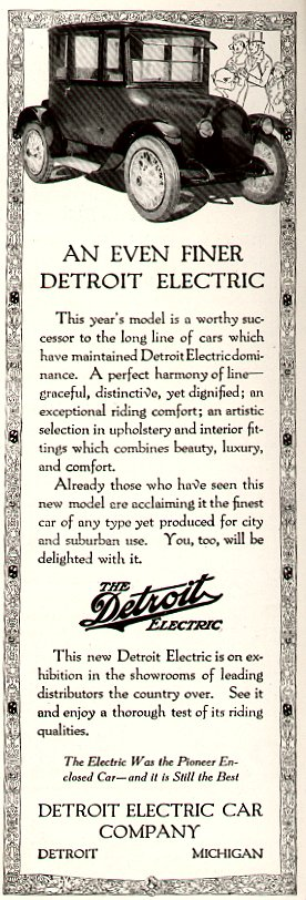 """1920DetroitElectricAd"" by Public domain US advertisement, Previously uploaded to en:Wikipedia by User Infrogmation on en.wikipedia - Scanned from 1920 US magazine by Infrogmation. Previously uploaded to en:Wikipedia by Infrogmation, from en.wikipedia; description page is (was) here00:36, 12 February 2004 Infrogmation 276x812 (87,965 bytes) (Detroit Electric automobile ad from February, 1920 magazine). Licensed under Public domain via Wikimedia Commons - https://electragirl.com/wp-content/uploads/sites/2/2014/07/File1920DetroitElectricAd.jpg"